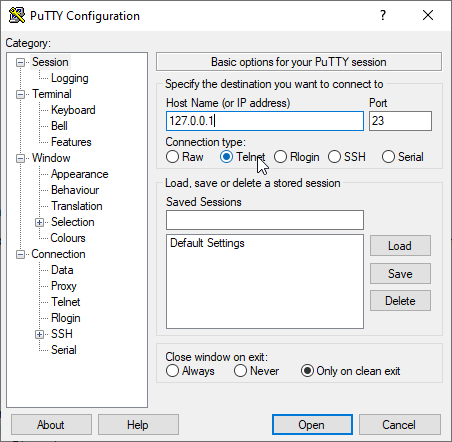 How to telnet using Putty ?